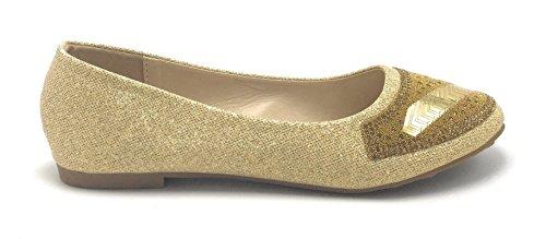Donna Glitter Sparkle Balletto Strass Flat Ballerina Da Donna Da Sera Slip On Shoe Oro / Lucille-52