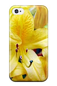 New Style 3639783K10290419 Iphone 4/4s Yellow Flowers Print High Quality Tpu Gel Frame Case Cover