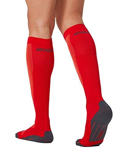 2XU Men's Compression Performance Run Socks, Rio Red/Sunburst Orange, X-Small by 2XU (Image #1)