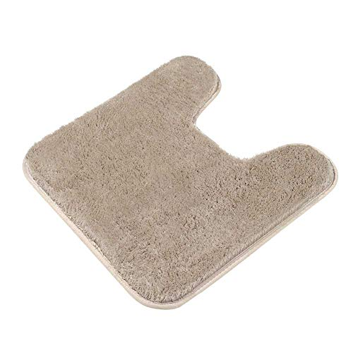 Contour Bath Rug, Seavish Microfiber Shaggy U-Shaped Toilet Contour Rug Toilet Mat Bath Mat Non Slip Bathroom Rug 19.5X 19.5 Inches, Warm Beige from Seavish