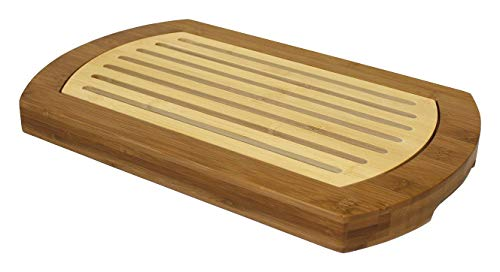 Simply Bamboo BICT Multi-Purpose Two-Tone Bamboo Crumb Cutting Board/Serving Tray, 16' L x 10' W, 16 x 10 x 1.2