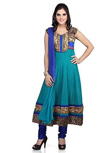 Sea Green Cotton Kameez (IndusDiva Women's Sea Green Cotton A-line Kameez and)