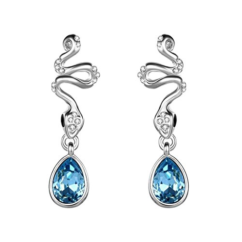 Adisaer 18K White Gold Plated Drop Earrings Water Drop Blue Cubic Zirconia Eco - Dangling Wood Pink Tube
