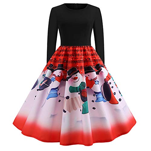 Seaintheson Christmas Dress for Women,Ladies Vintage Patchwork A-line Floral Print Evening Party Skirt Prom Swing Gown Dress -