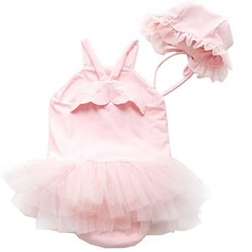 YAO Baby Girl Swimwear and Hat 2 Pieces Set One-Piece Swimsuit Princess Skirt Cute Angel Wing Bathing Suit (Pink, 12-18Months)