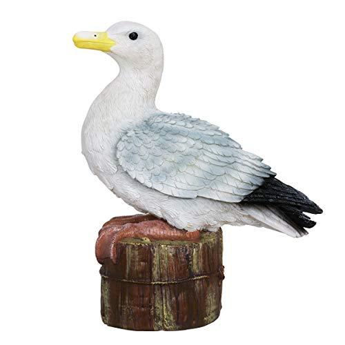 - Exhart Solar Seagull on a Pier Resin Garden Statue - Hand-Painted Beach Seagull Garden Figurine w/LED Solar Garden Lights - Solar Seagull Decor for Garden, Yard, Patio, and Balcony, 15 x 16 Inches
