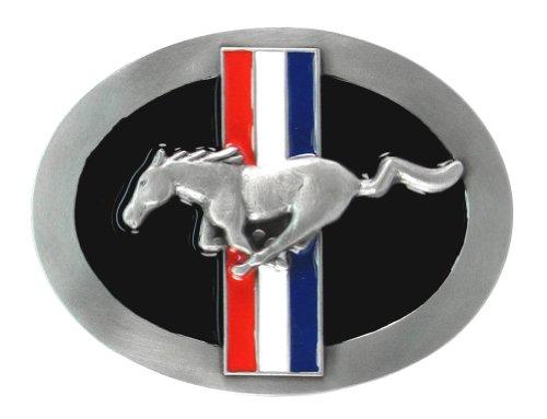 Tri Bar Ford Mustang Belt Buckle - Ford Pewter Belt Buckle