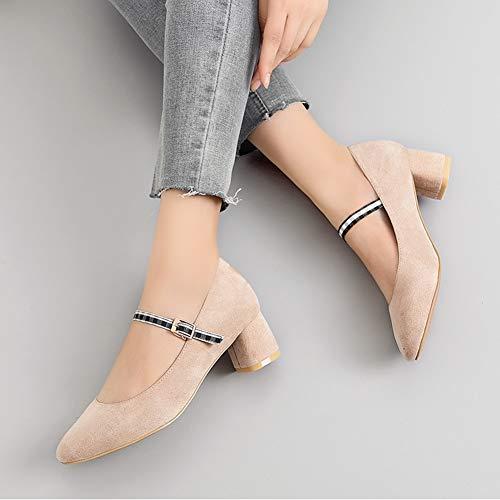 Female Herbst größe Mid Schuhe Fashion Women's Farbe Aprikosenfarbe Damenschuhe HWF Shallow Schuhe 36 Heel Mouth qzR8SXxO