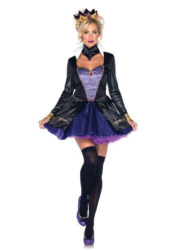 Wicked Queen Sexy Costumes (Leg Avenue Women's 4 Piece Evil Queen Costume, Black/Purple, Small)