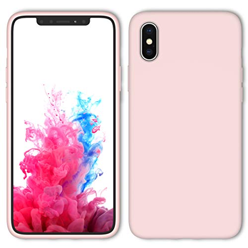 iPhone X Case, iPhone Xs Case with Screen Protector Tempered Glass, Aucaeo 360 Shockproof Protective Liquid Silicone Cases Ultra Thin Slim Cover for Apple iPhone X/XS 5.8 inch 2018, Sand Pink