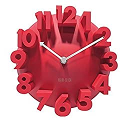 GCA 3d Big Digital Modern Contemporary Home Office Decor Round Quartz Wall Clock (Red)