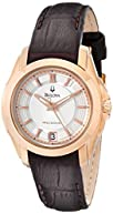 Bulova Women's 97M104 Precisionist Longwood Rose-Tone Brown Leather Watch