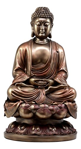 "Ebros Gift Large Meditating Buddha On Lotus Throne Statue 15""H Shakyamuni The Enlightened One Inner Peace Sculpture"