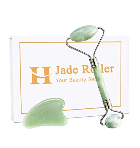 Jade Roller Gua Sha Tools Set- Beauty Facial Skin Massager Roller Anti Aging Wrinkles No Squeaks Not Fade Body Eyes Neck - Original Jade Stone (Green)