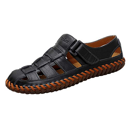 - 【Hollow Sandals Men,Mosunx Athletic Breathable Hand Stitching Leather Clogs】Round Toe Flat Non-Slip Beach Walking Shoes (7.5 M US, Black)