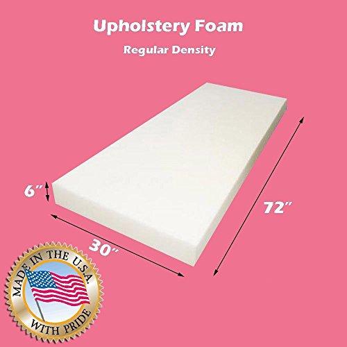 "Mybecca Upholstery Foam Cushion Regular Density 6"" L x 30"" W x 72"" H -  R6-30-72"