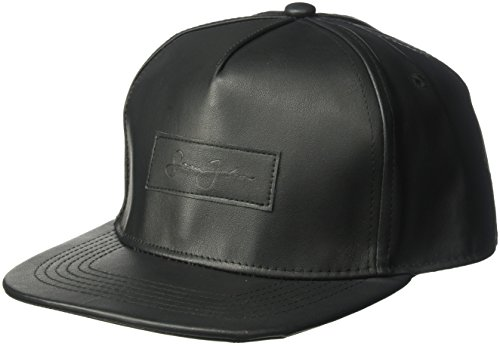 Sean John Men's Textured Pebble PU Baseball Cap With Patch, Black, One Size
