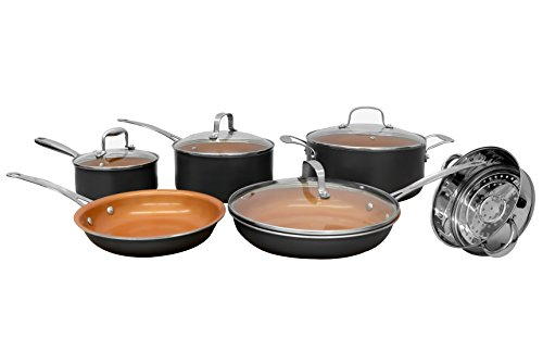 Gotham Steel 10-Piece Kitchen Set with Non-Stick Ti-Cerama Coating by Chef Daniel Green - Includes Skillets, Fry Pans, Stock Pots and Steamer Insert – Graphite