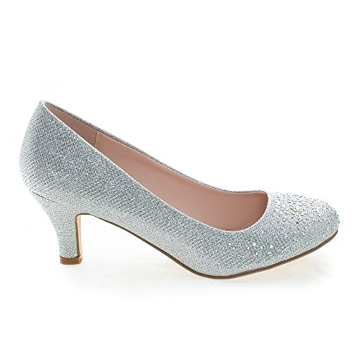 Wonda1 Silver Round Toe Low Heel Classic Dress Pump In Metallic Glitter -6 (Classic Metallic Pumps)