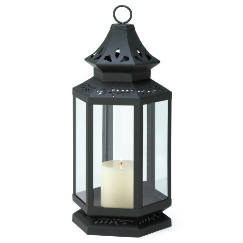 Gifts and Decor Large Black Stagecoach Hanging Lantern Candle Holder, Outdoor Stuffs