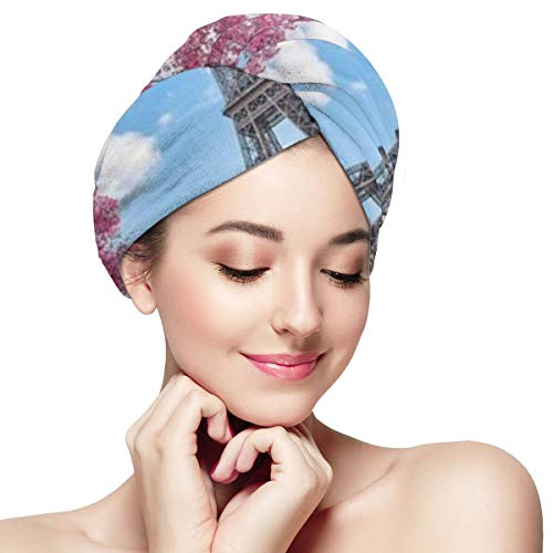 Pink Cherry Blossom Eiffel Tower Microfiber Absorbent Dry Hair Cap Twirl Towel Hair Towel Wrap Turban Fast Head Towel with Buttons for Girl Quick Dry Magic Hats Bed Head Eiffel Tower