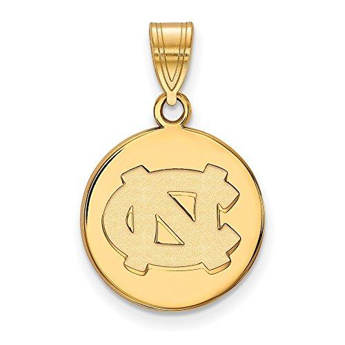 14k Yellow Gold North Carolina Tar Heels School Letters Logo Disc Pendant M - (16 mm x 15 mm)