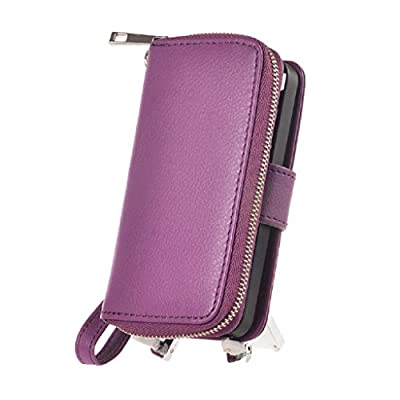 Pooqdo (TM) 2015 Newest Magnetic Zip Flip Wallet Leather Card Case Cover for Iphone 5 5g 5s (purple)