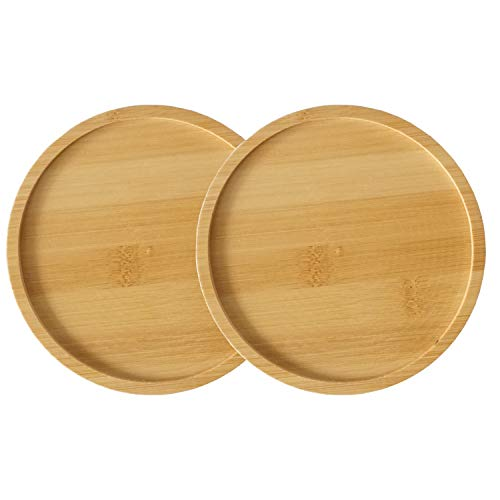 - JINMURY 2 Pack Round Bamboo Plant Saucer Set- 6 Inch BambooTrays for Succulent Plants Pot Round Succulent Planter with Drainage Hole