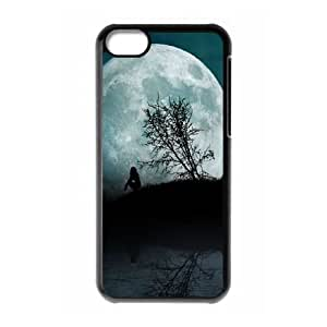 iPhone 5c Cell Phone Case Black Girl Moon Night Water BNY_6918841