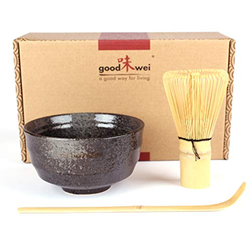 Japanese Matcha Tea Ceremony Set - Ceramic Bowl with Bamboo Whisk and Scoop