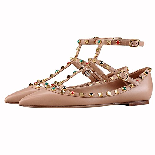 Chris Shoes Strap Pearl T Rivets Nude Flats T Womens Ankle Buckle Studded v0pqrvn