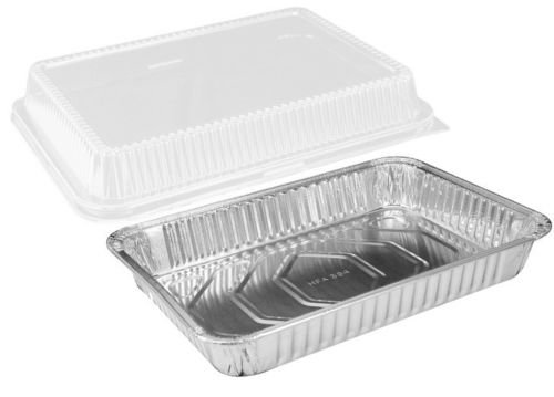 Handi-Foil 13 inch x 9 inch Oblong Aluminum Foil Disposable Cake Pan with Clear Dome Lids - HFA REF # 394-WDL (Pack of 200 Sets)