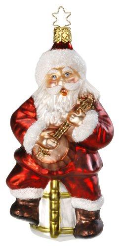 Inge Glas Santa Band Pickin the Strings 1-091-14 German Glass Christmas - Band Glasses Germany