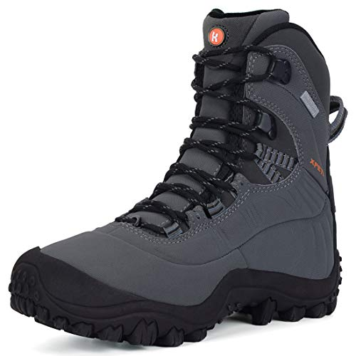 (XPETI Women's Thermator Mid High-Top Waterproof Hiking Boot Mountaineering Outdoor Boot Light Grey 8.5)