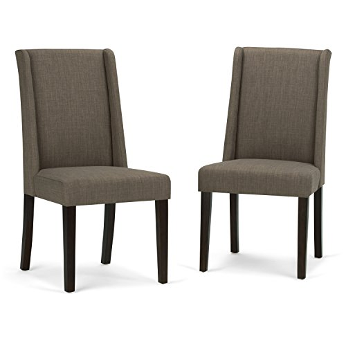 Simpli Home AXCDCHR-002-LML Sotherby Contemporary Deluxe Dining Chair (Set of 2) in Light Mocha Linen Look Fabric
