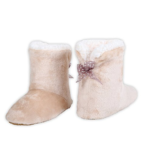 Bootie Faux Slipper with Plush Solid Shearling ICONOFLASH Lining Beige Women's YwPtTT