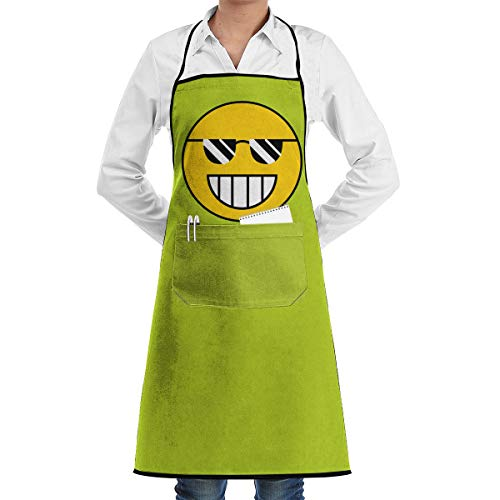 Golden Water Cloud Up Unisex Attitude Aprons Fully Adjustable Cool Smiley Face Apron with 2 Pockets Cooking Kitchen Aprons for Women Men - Aprons Smiley Face
