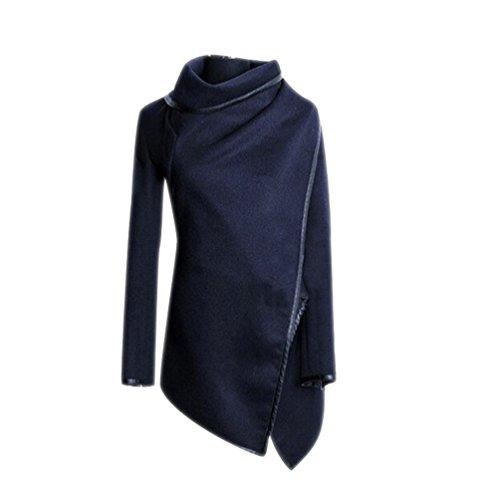Abrigos Chaquetas Stitching Invierno Irregular Alto Largo Azul Capa Parka para Lana Cuello de Moda Mujer Slim 1PwqY5gw