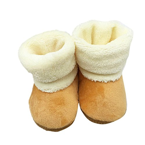 Baby Shoes,Leegor Toddler Cozy Cute Solid Cotton Soft Sole Boots Warm Prewalker (6M, Coffee)