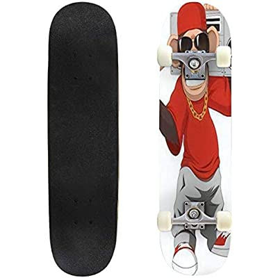 Classic Concave Skateboard Happy Monkey Longboard Maple Deck Extreme Sports and Outdoors Double Kick Trick for Beginners and Professionals : Sports & Outdoors