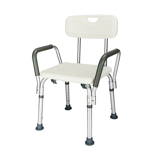 Bench Bathroom Accessories (Mefeir Medical Shower Bath Chair Stool Transfer Bench Seat, SPA Bathroom Bathtub Chair No-slip Adjustable 6 Height (with Back and Arms))
