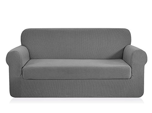 CHUN YI 2-Piece Jacquard Polyester Spandex Sofa Slipcover (Loveseat, Light Gray)