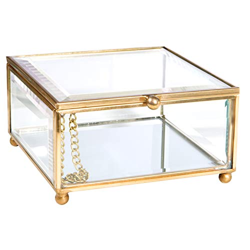 Home Details Vintage Glass Keepsake Tray Jewelry Organizer, Decorative Accent, Vanity, Wedding Bridal Party Gift, Candy Table Décor Jars & Boxes, Gold