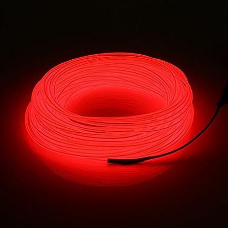MASUNN 20 M El Led Flexible Suave Tubo De Alambre Neón Resplandor Coche Cuerda Franja De Navidad Decoración DC 12V-Rojo