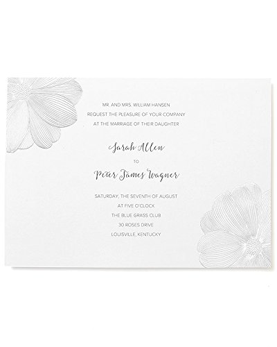 - BRIDES Silver Foil Floral Print at Home Invitation Kit