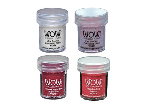 Wow! Love Bundle - Embossing Powder 4 15ml Jars Red Metal, Apple Red, Pink Sherbet and Clear Sparkle by Wow! Embossing Powder
