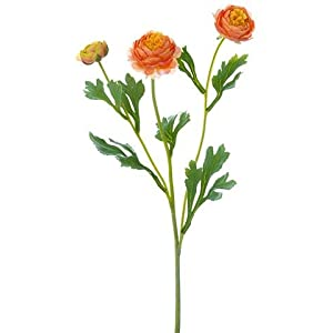 "Ranunculus Artificial Flower Spray in Orange - 20"" Tall - Set of 3 64"