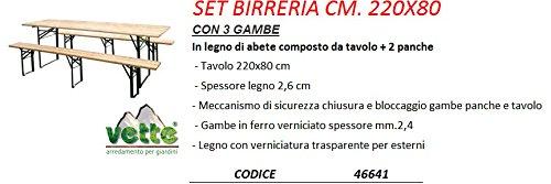 Set Birreria Tavolo 2 Panche A 3 Gambe Cm 220x80 46641 Amazon