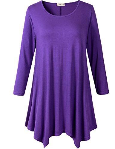 - LARACE Lanmo Women Plus Size 3/4 Sleeve Tunic Tops Loose Basic Shirt (M, Deep Purple)