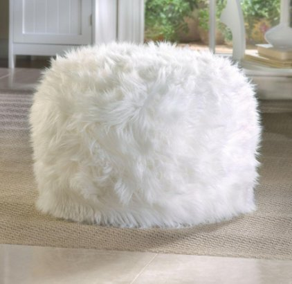 SKB Family Fuzzy White Ottoman Footstool Accent Home cloud comfort Polyester polystyrene by SKB family